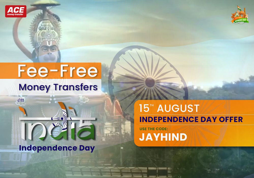 Fee-Free Money Transfers on India Independence Day – ACE Money Transfer