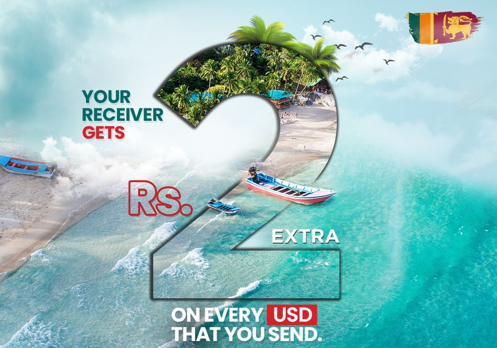 Send money to Sri Lanka with ACE Money Transfer & get an extra LKR 2 for every US dollar sent!